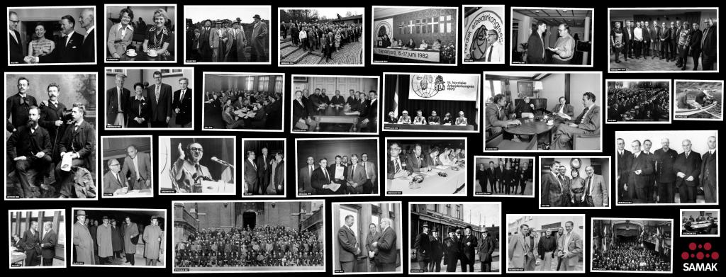 Bildekollasj: Svart-hvite bilder fra SAMAKs historie