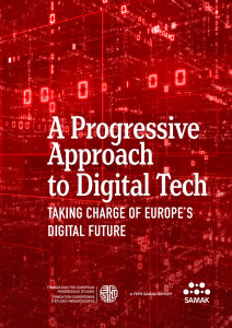 Front page of the report - red background with numbers and numbers. Text reads A progressive approach to digitilized tech - taking charge of Europes future